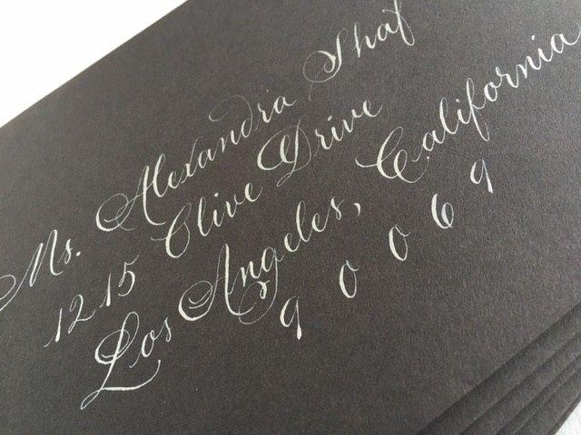 Silver ink, charcoal envelopes