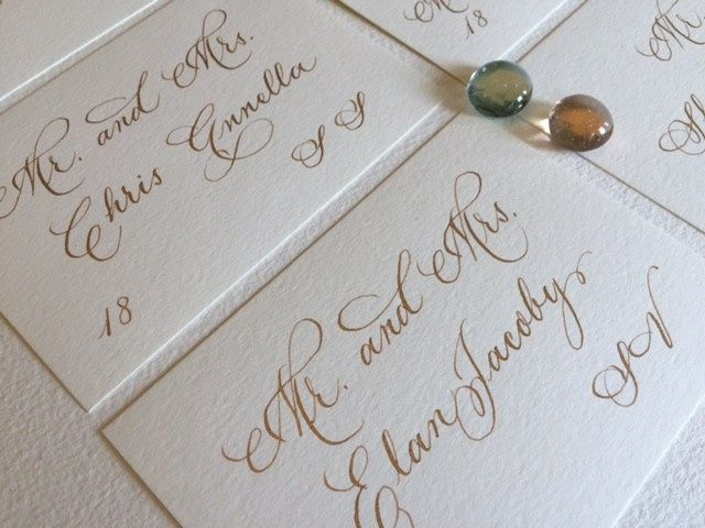 Seating cards, inscribed in gold and traditional calligraphy.