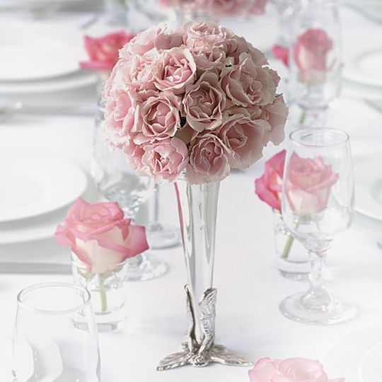 Pink floral decor and centerpiece