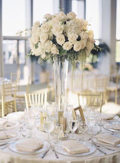 Raised floral table centerpiece