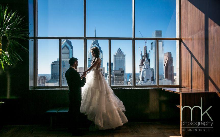 Newlyweds by the window