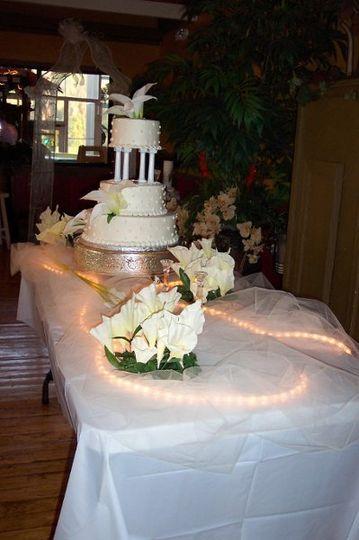 Wedding cake table set up