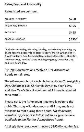 Athenaeum Pricing