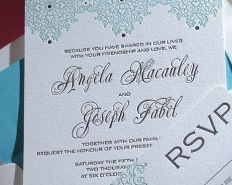 Letterpess Wedding Invitations from Luxe Expressions.  This is a Moroccan Pattern Theme in 2 Ink...