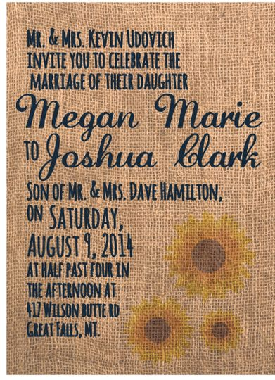 a rustic, sunflower wedding invitation with whimsical elements like a hand writing font.