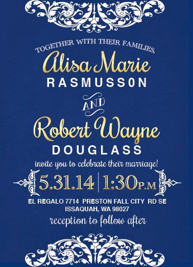 """A beautiful victorian lace """"high-tea"""" wedding featuring a royal blue and gold color scheme. Printed..."""