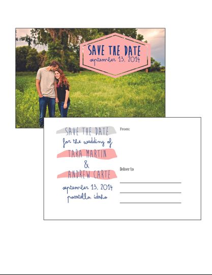 A simple paint splash save the date post card. An easy, cheaper way to send out those save the...