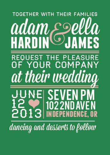 A forest green and pink wedding...these invites are printed on matte card stock, 5x7. Back of invite...
