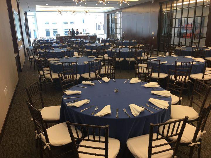 Blue themed reception hall