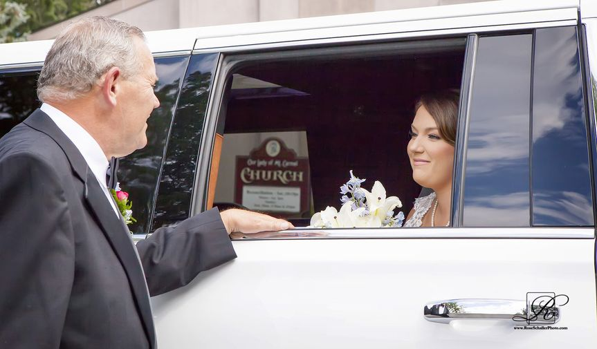 Bride inside the limo