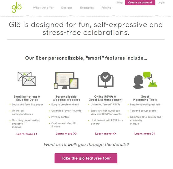 Glo GlositeCom  Email Wedding Invitations Wedding Websites