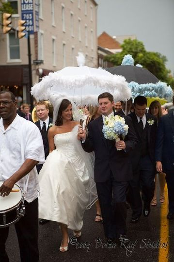 New Orleans Jazz Band leads Bride/Groom and wedding guests from Old Town church to reception site.