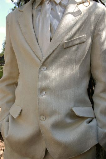 Hemp and silk attire available from designer Crystal Miller. Perfect for the eco-conscious groom!