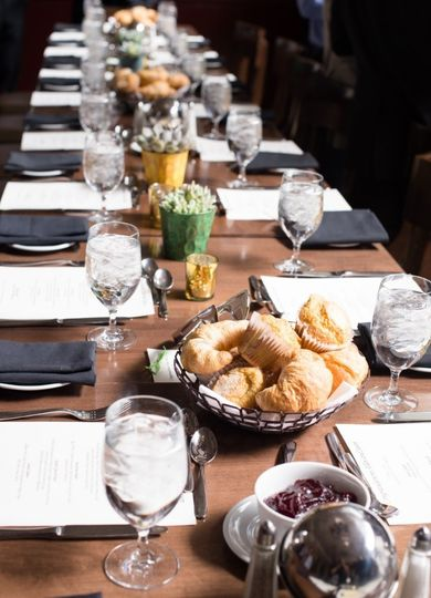 Table set-up with breakfast breads