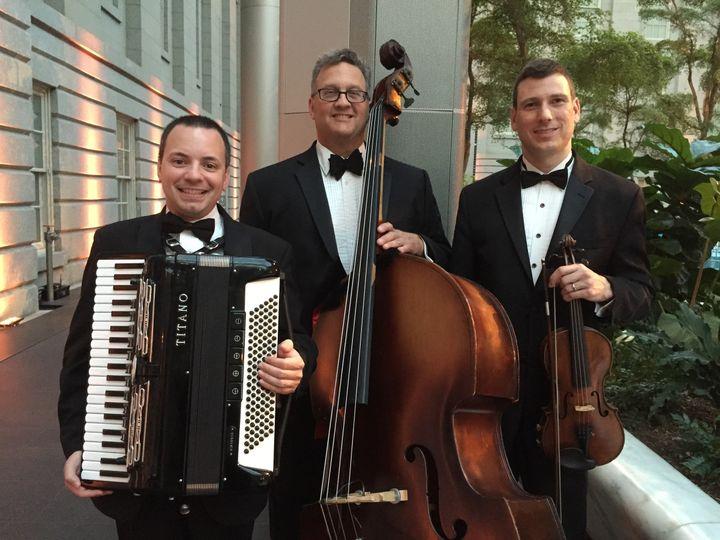Accordion, cello, and violin