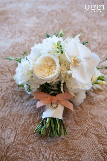White roses with peach ribbon
