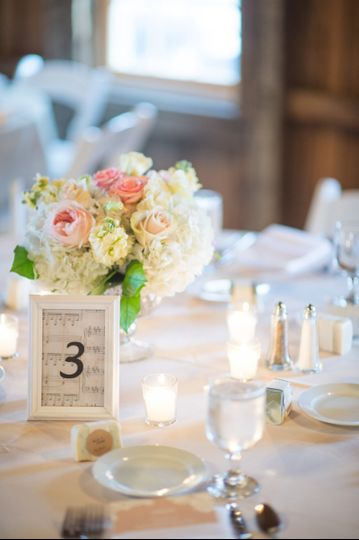 Sample table number with centerpiece