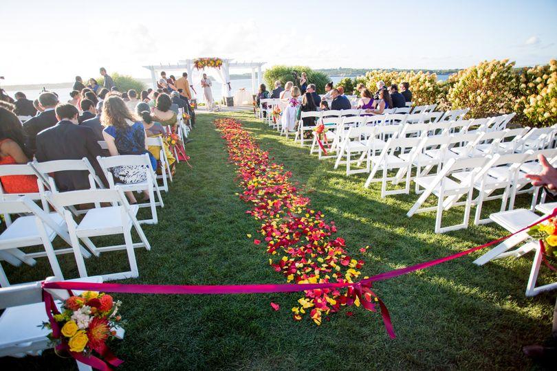 Wedding aisle petals