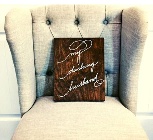 houston calligrapher reception wood sign