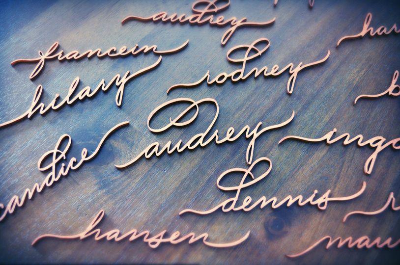 36661e4b331c2523 Houston Calligrapher Laser Cut Names Place cards