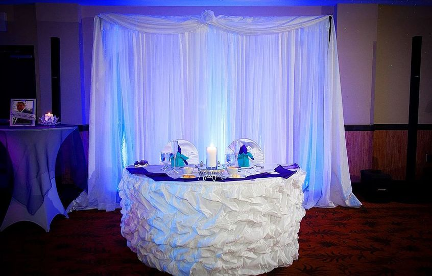 Blue uplighting  behind the sweetheart table