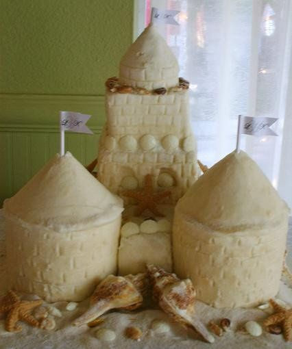 Sand Castle Cake complete with edible white chocolate seashells