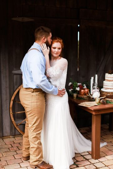 Couple portrait in rustic setting