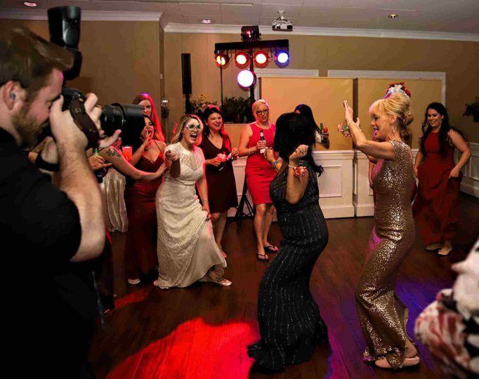 Bride and her ladies dancing