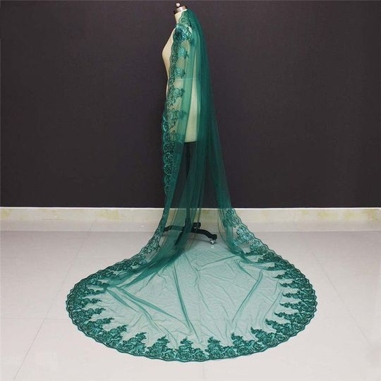 Green Lace Edged Veil