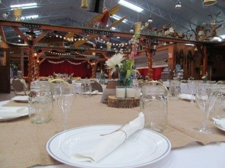 Rustic table setup at the Yellow Barn