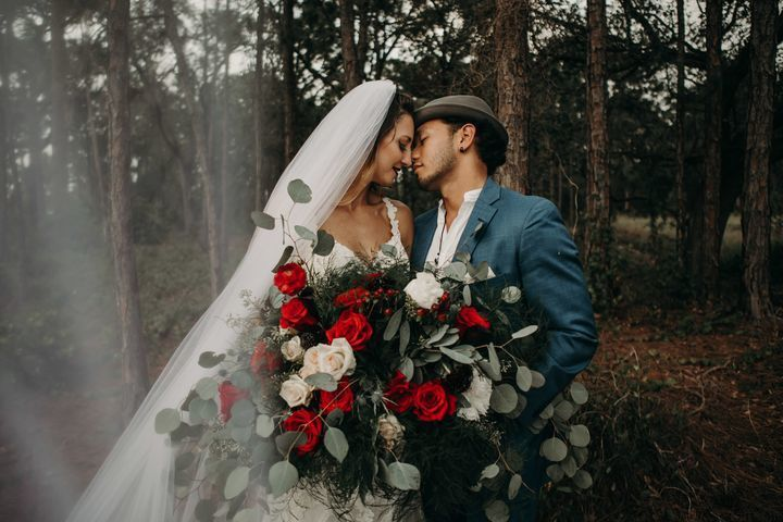 Newlyweds in the woods