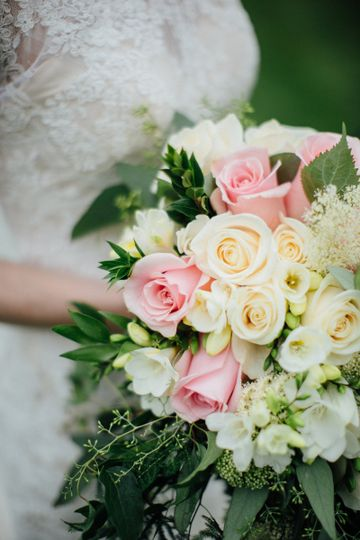 Pink and Cream Bridal Bouquet | Photo Courtesy of Tim Tab Studios