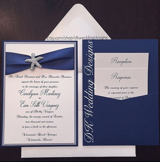 White and blue invitation with starfish design