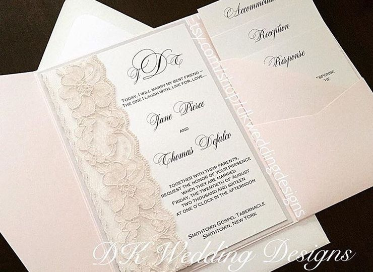 White invitation with lace