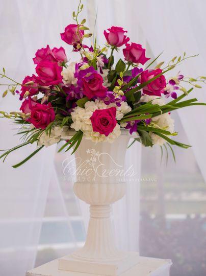 Pedestal piece for wedding ceremony - Fuschia roses, purple dendrobium orchids, white hydrangeas...