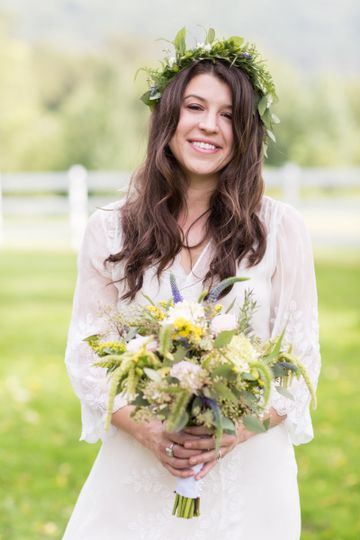 Lovely bride in a flower crown