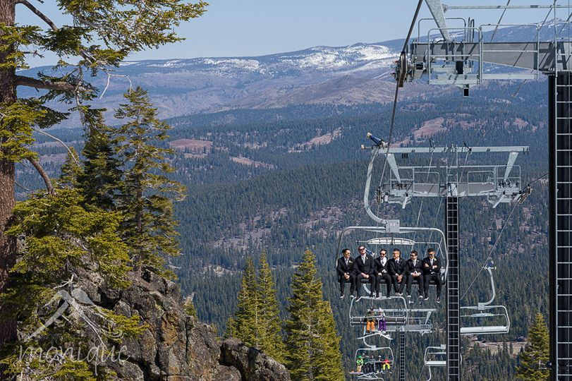 Groomsmen riding the chair lift at northstar to arrive at their mountain wedding destination!