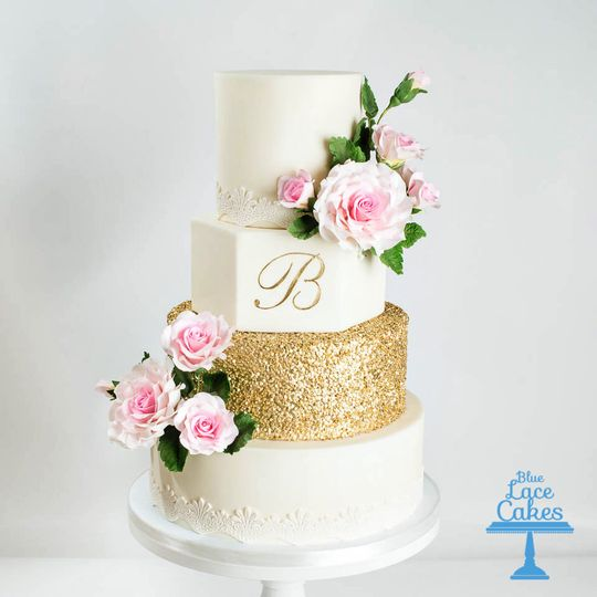 pink rose and gold wedding cake 100