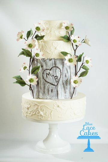 rustic dogwood wedding cake 100