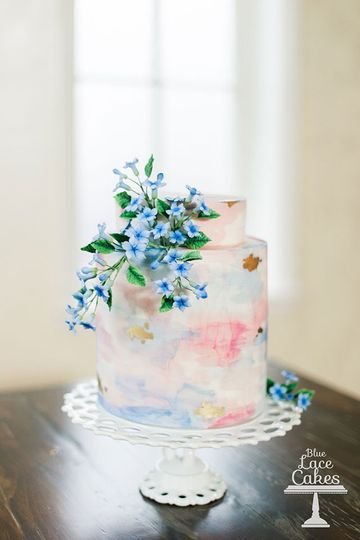 watercolor spring wedding cake