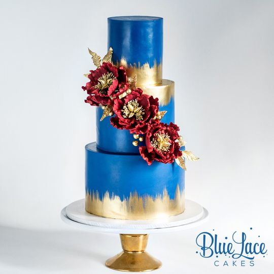 Burgundy Gold and Blue
