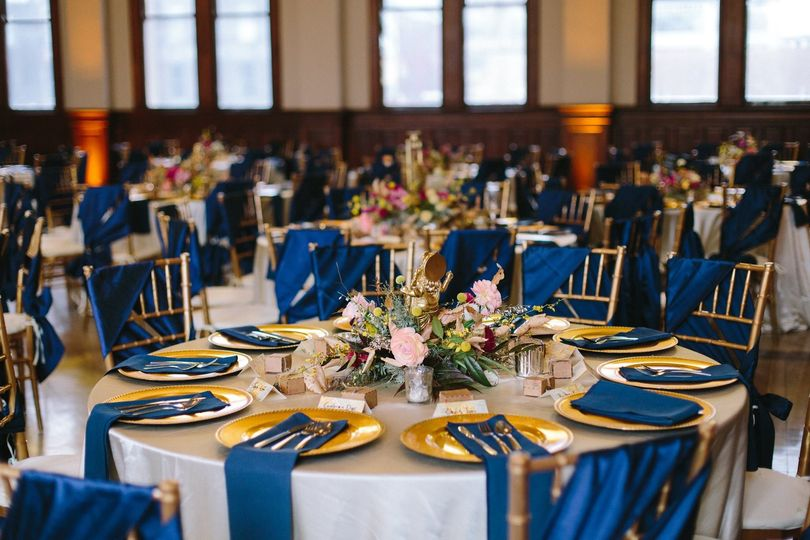 Blue and gold themed reception | Team Wedding