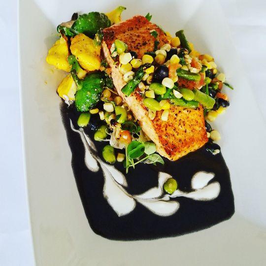Pan seared salmon with black b
