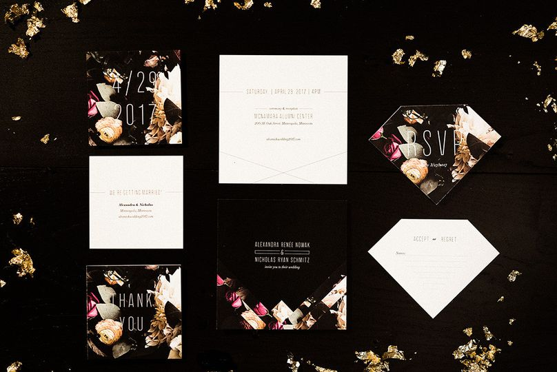paper paragon modern glamorous wedding invitation