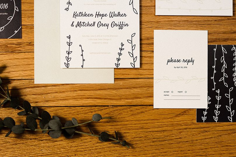 paper paragon casual modern wedding invitation rsv