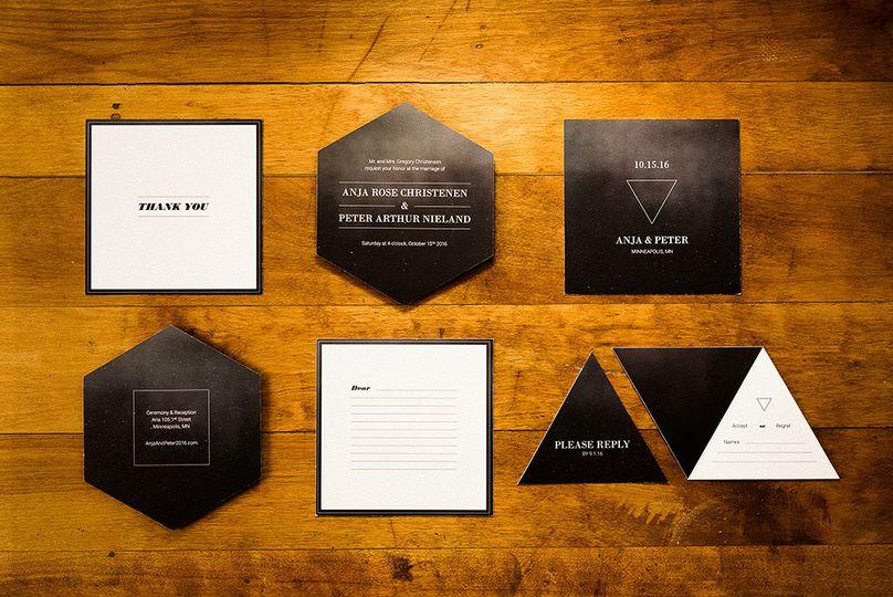 paper paragon romantic glamorous wedding invitatio