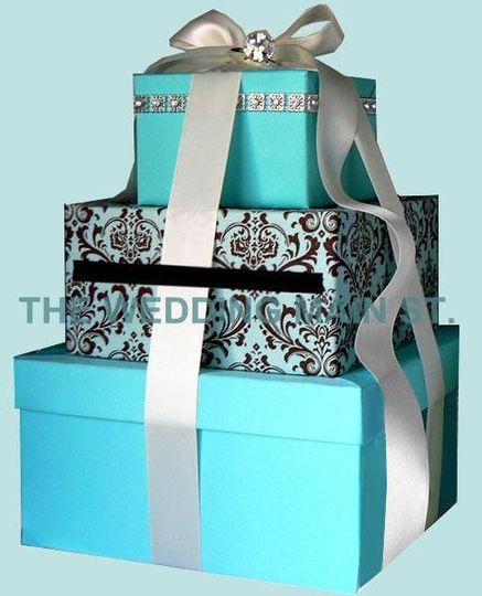 Tiffany blue theme Damask Card box