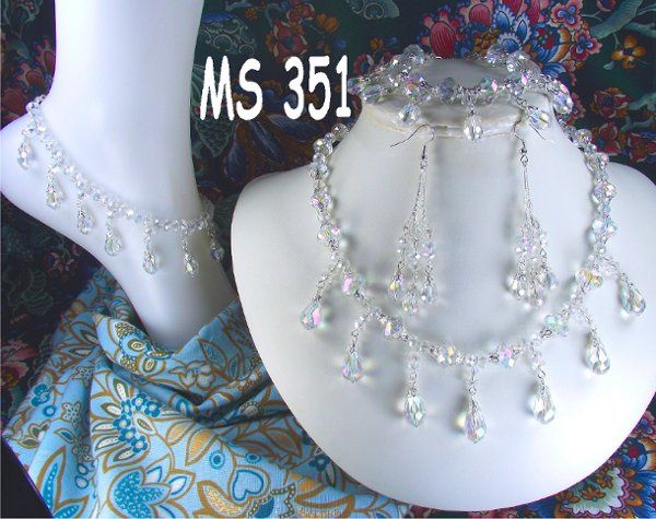 Angelic clear AB crystal matching wedding jewelry set.  Custom orders available in many colors....
