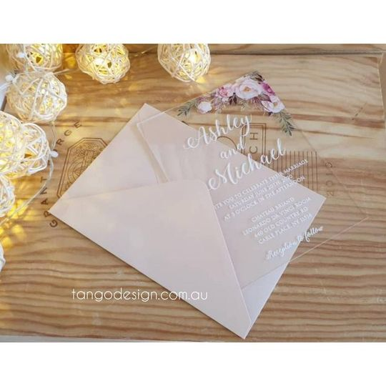 Acrylic clear wedding invites