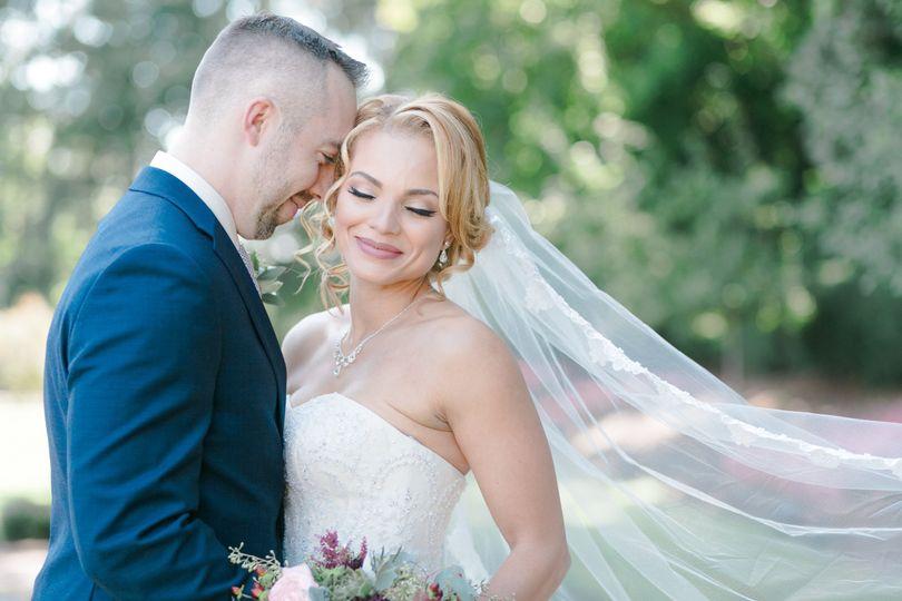 nj wedding photographer veil detail garden wedding